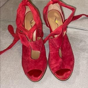 Red suede lace up heels from Nordstrom size 9.